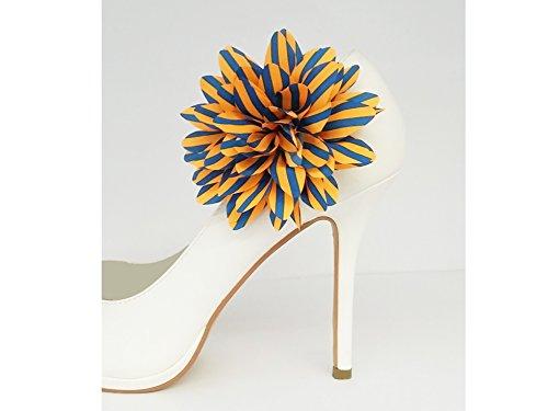 La Loria Damen 2 Schuhclips Retro Flower Orange Blau gestreift, Accessoire zum Schuhe verschönern