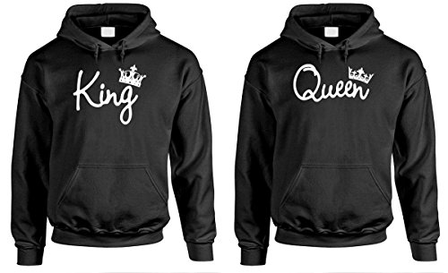 King and Queen - Couples Two Hoodie Combo Pack, LRG Left, MED Right, Black by The Goozler