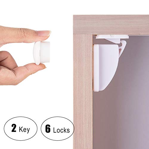 Baby Proof Magnetic Cabinet Safety Locks, CO-Z Hidden Magnetic Latch Lock Systems - No Tools No Drill Needed (6 Locks + 2 Keys)
