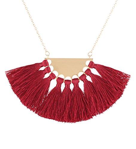 Isaloe Women's Tassel Bib Necklace Openwork Statement Fan Tassel Drop (Tassel Drop Necklace)