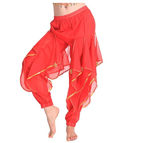 MUNAFIE Belly Dance Harem Pants Tribal Arabic Halloween Pants With Gold Trim US0-14 Red