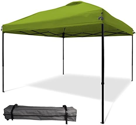 XGEAR 10 x10 Pop UP Canopy Tent Instant Shelter Straight Leg with Wheeled Carry Bag,Green