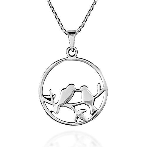 AeraVida Love Birds Kisses on Branch .925 Sterling Silver Pendant Necklace