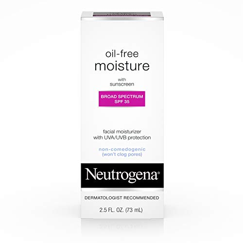 Oil Free Moisturizer Sunscreen - Neutrogena Oil Free Daily Long Lasting Facial Moisturizer & Neck Cream - Oil Free Moisturizer Won't Clog Pores with SPF 35 Sunscreen, Glycerin, 2.5 Fl. Oz