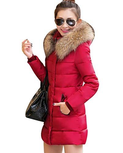 Outdoor Casuales Manga Larga Grandes Fit Transición Espesar Piel Largas Elegantes Invierno Parka Rot Acolchado Con Mujer Retro Slim Abrigo De Capucha Caliente Pluma Tallas 6qFHnOw