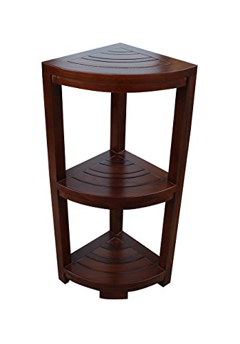 ALATEAK Corner Teak Wood Bath Spa Shower Stool Corner Shelf Storage Fully Assembled (Furniture Fully Garden Assembled)