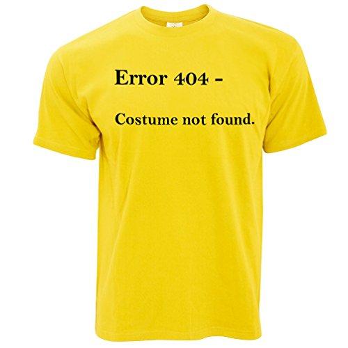 Nerdy Halloween T Shirt Error 404, Costume Not Found Yellow S ()