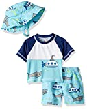 Wippette Baby Boys Short Sleeve Rashguard Set with Hat, Shark Aqua, 24M