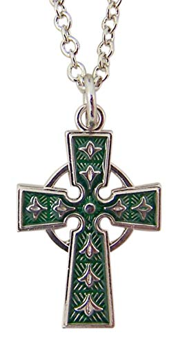- Sterling Silver Celtic Cross with Green Enamel Inlay Pendant Necklace, 5/8 Inch