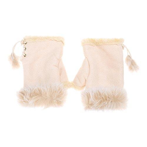 Warm Rabbit - Womens Teens Winter Warm Rabbit Fur Hand Fingerless Gloves Mittens by ZLYC (Beige)