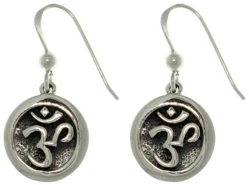 Jewelry Trends Sterling Silver Chakra Yoga Om Hindu Meditation Symbol Round Dangle Earrings