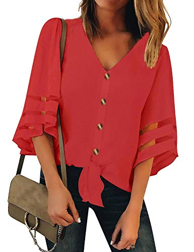 (Women Loose Fitting 3 4 Sleeve Shirts V Neck Tie Knot Tops Blouses(XXL, Red 3))
