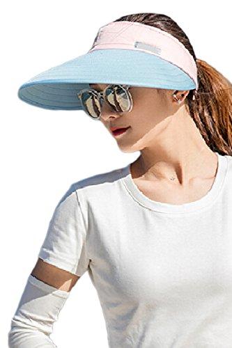 Women's Visors Colorblock Wide Brim Adjustable Summer Hat Caps Blue One Size