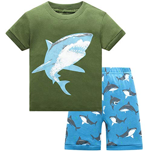 Pajamas for Boys Clothes Summer Shorts for Kids Cotton PJs Shark Sleepwear Size 8 -
