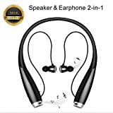 Bluetooth Headset Speaker 2 in 1, Pianogic HB-906 [ 24-Hrs Playtime ] CVC 6.0 Wireless Neckband Noise Cancelling Sweatproof Earphones with Built-in Speaker and Call in Vibration Reminder Headphones