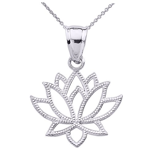 Design Lotus Flower Pendant (High Polish 925 Sterling Silver Open Design Lotus Flower Pendant Necklace, 16