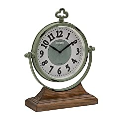 Deco 79 Metal Wood Table Clock, 10 by 13-Inch