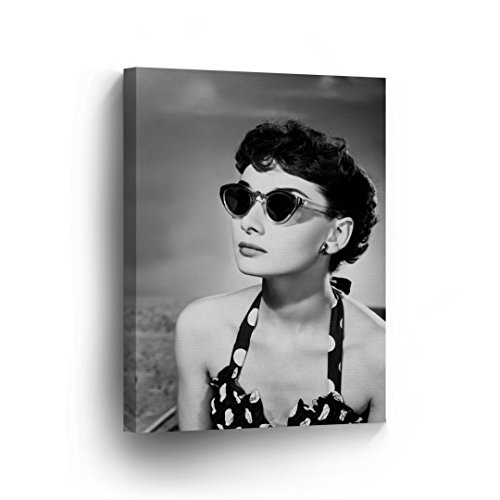 Audrey Hepburn Wall Art CANVAS PRINT Famous Cat Eye Sunglasses Black and White Iconic Decoration Framed Home Decor Stretched and Ready to Hang -%100 Handmade in the USA - ()