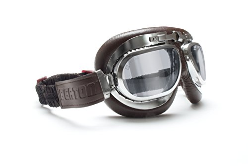 Motorcycle Vintage Goggles - Aviator Style - Chrome Plating Steel - Antifog and Anticrash Lens - by Bertoni Italy - AF191CRS Motorbike Riding Glasses (Brown - Light Smoked - Vintage Goggles