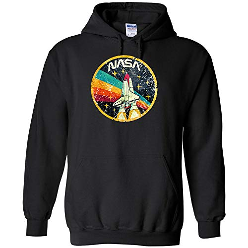 (NASA Vintage Logo Hoodie Shuttle Astronaut Science Outer Space Funny Sarcastic Jumper Pullover Hooded Fleece Sweatshirt Adult Humor Joke)