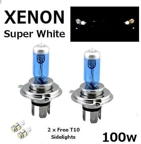 2 bombillas para faros delanteros H4 de 24 V, 100 W, superblancas de xenón 475 mejoradas + 501 ledes para luces de posición