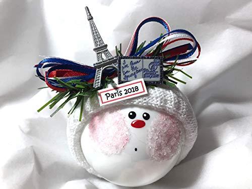 Christmas Gifts Postcard - Paris France Souvenir Gift Christmas Glass Ornament Eiffel Tower Postcard Hand Painted Handmade Personalized