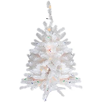 northlight pre lit snow white artificial christmas tree with multicolored lights 18 - Amazon White Christmas Tree
