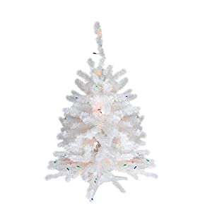 "Northlight Pre-Lit Snow White Artificial Christmas Tree with Multicolored Lights, 18"" 27"