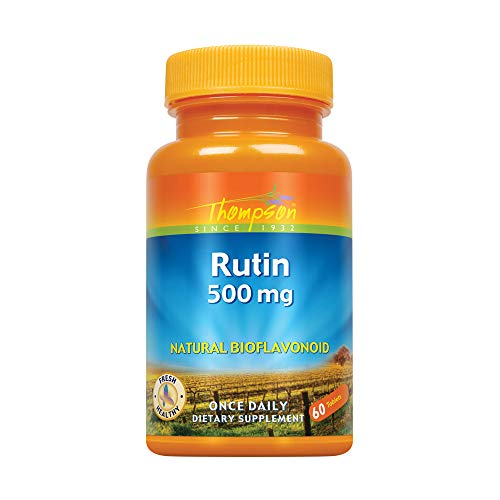 Thompson Rutin 500mg | Bioflavonoid and Antioxidant | Healthy Vascular System Support | Non-GMO & Vegan | Lab Verified | 60 (Quercetin 500 Mg 150 Tablets)