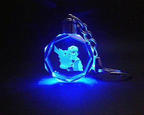 Pokemon Pikachu Keychain for Girls/Boys, LED Light Up Crystal Keyring Laser Engraved Charm Key Chain (1 (Cute Costumes Ideas Animals)
