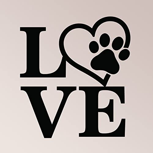 LOVE STARTS WITH A WET NOSE VINYL WALL DECAL DOG LOVERS PET DECOR PAW LETTERING