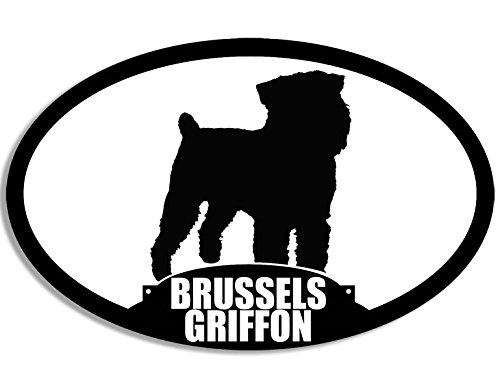 Oval BRUSSELS GRIFFON Silhouette Sticker (dog breed)