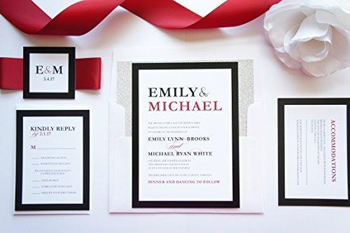 (Modern Red and Black Wedding Invitation- SAMPLE SET)