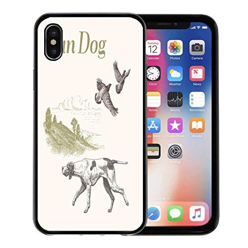 (Emvency Phone Case for Apple iPhone Xs Case/iPhone X Case,Animals Quail Dog Hunting Gun Engraved Landscape Retro Collection Soft Rubber Border Decorative, Black)