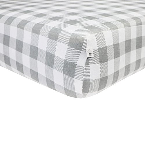 Price comparison product image Burt's Bees Baby - Buffalo Check Fitted Crib Sheet, 100% Organic Crib Sheet for Standard Crib and Toddler Mattresses (Fog)