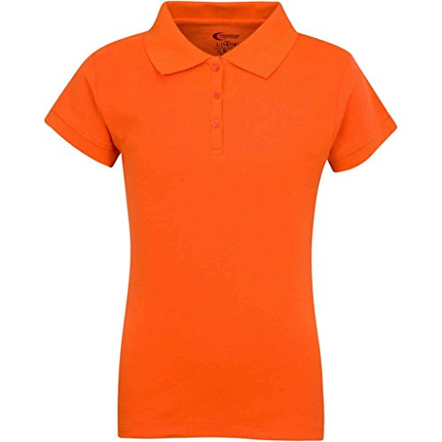 Premium Short Sleeves Girls Polo Shirts Orange M 10/12 ()
