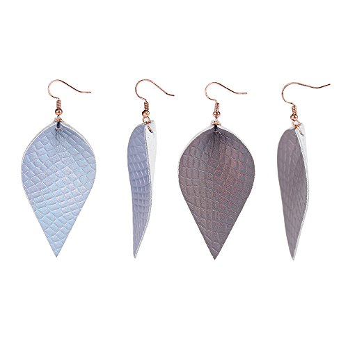 YOUTH UNION 2 Pairs Vintage Boho Shard Lattice Leather Teardrop Leaf Dangle Pierced Earrings (Blue + Brown)