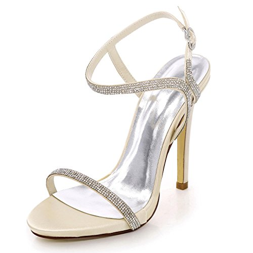 Femmes 09 shoes de Chaussures à Strass high Champagne Open Toe Party Prom Hauts D7216 Bridal Mariage Summer Talons Elegant 0xAEP5w