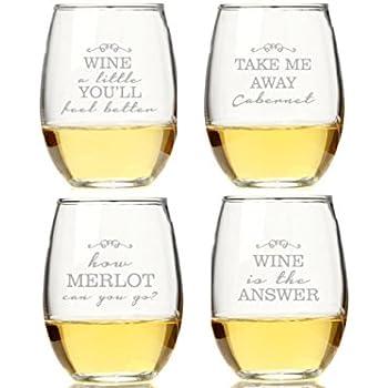 Wine Quotes Amazon.| Wine Quotes Stemless Wine Glasses (set of 4): Wine  Wine Quotes