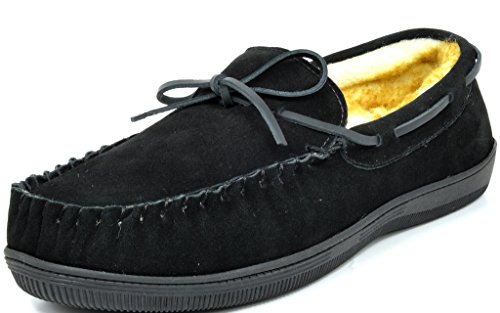 DREAM PAIRS Men's Fur-Loafer-01 Black Suede Slippers Loafers Shoes Size 9.5 M US