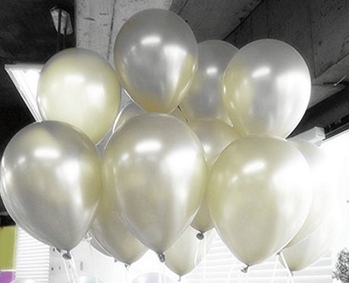 Eshanmu 100pc White Pearlized Latex Balloons 12 inch …