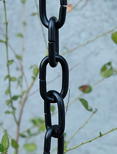 Black Large Aluminum Link Rain Chain with Installation Kit (10 Foot) by Nutshell Stores (Image #4)
