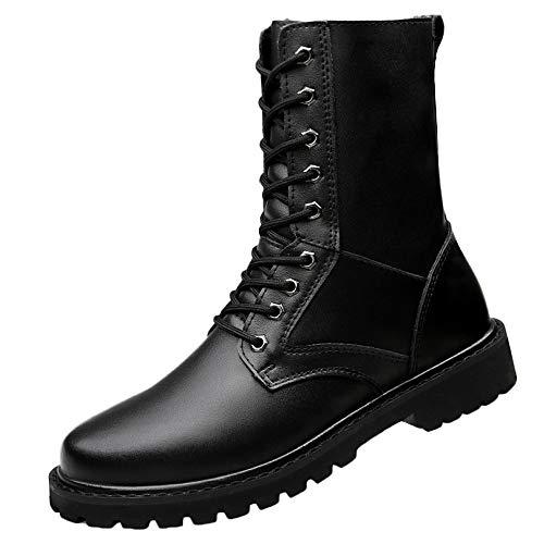 Plus Size Da Uomo Lace-up Stivali Da Combattimento In Pelle Impermeabile Smorzamento Antiscivolo Stivali Da Moto Trail Ankle Martin Boots Black