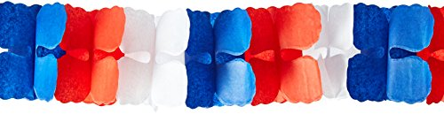 Patriotic Petals - American Summer Fourth of July Party Red, White and Blue Paper Petal Garland Decoration, Crepe, 9 Feet x 6