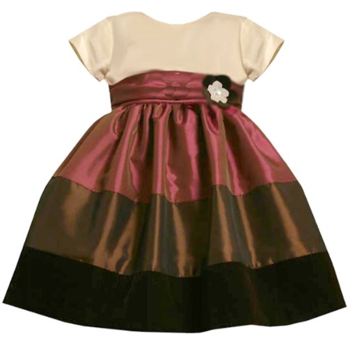 Bonnie Jean Baby 12M-24M Brown Iridescent Colorblock Shantung Party Dress