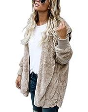 LUOEM Casaco feminino fofo reversível inverno quente capuz casaco agasalho tamanho M (cáqui)