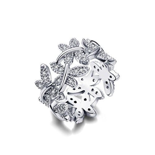 NEWBARK 10 Butterflies 18k White Gold-Plated Cubic Zircon Women's Rings Size 6.5 Butterfly Ring Jewelry