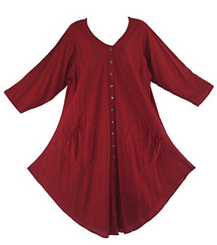 Beautybatik Lagenlook - Vestido / túnica de manga larga rojo (Maroon)