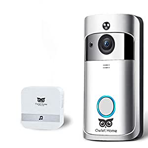 Owlet Home Smart WiFi Video Doorbell (1080x720) WiFi Enabled Two-Way Audio Night Vision Motion Detection with Indoor Chime, All Battery, 16GB TF Card App Control for iOS and Android, No Monthly Fee