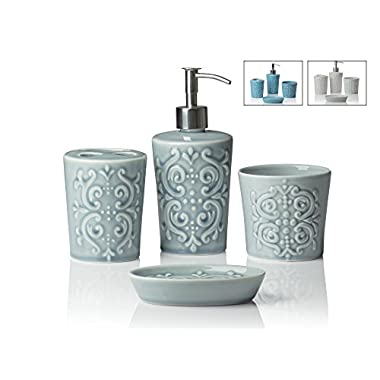 Designer 4-Piece Ceramic Bath Accessory Set | Includes Liquid Soap or Lotion Dispenser w/ Premium Metal Pump, Toothbrush Holder, Tumbler, Soap Dish | Vintage Damask | Contour Grey